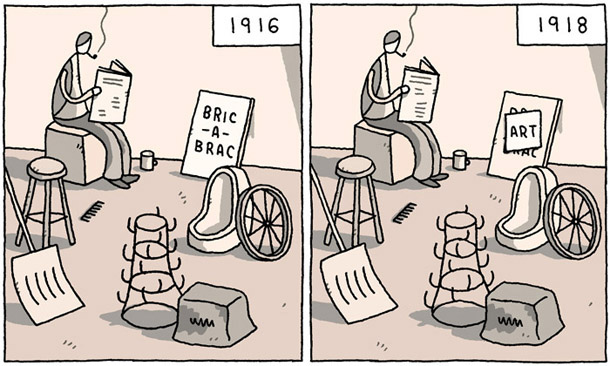 Tom Gauld, Untitled, illustration from The Guardian, 16 February 2008. The drawing illustrates Duchamp's readymades (anti-clockwise, from the lower left): In Advance of the Broken Arm, 1915 (a snow shovel); Égouttoir, 1914 (Bottle Rack); Traveller's Folding Item, 1916 (typewriter dust cover); the wheel from Bicycle Wheel, 1913; Fountain, 1917 (urinal); Comb, 1916 (steel dog comb); and the stool for Bicycle Wheel, 1913 (drawing courtesy of Tom Gauld: www.tomgauld.com).