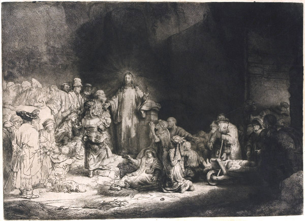 Rembrandt, Christ healing the Sick, 1639–49, etching with drypoint, Amsterdam, Rijksmuseum. Rembrandt's magnificent 'Hundred Guilder Print' was based on a composition by his master, Pieter Lastman; he adopted the seated Pharisees on the left from an engraving of Leonardo's Last Supper.