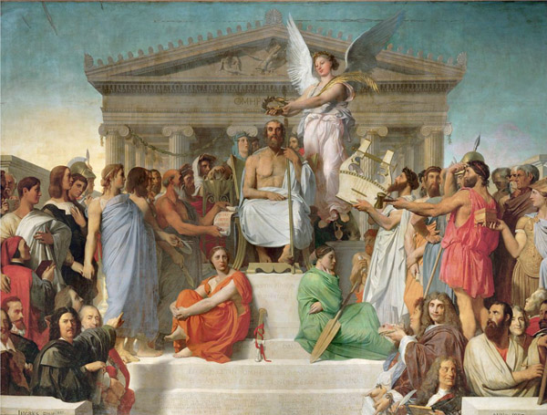 Ingres, Apotheosis of Homer, 1826–33, Paris, Louvre. The seated Homer is crowned with a victor's wreath, while his creations, a blood-red Iliad and a sea-green Odyssey, sit at his feet. On either side poets, painters, sculptors, and orators look to Homer for guidance, with only Plato (on our right) turning away from him.