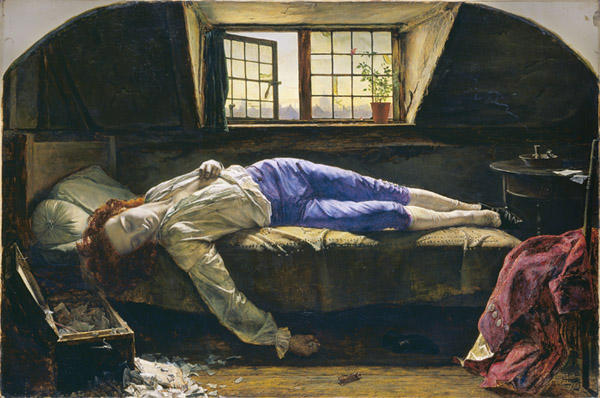 Henry Wallis, The Death of Chatterton, 1856, oil on canvas, London, Tate Gallery). An early death had been accepted as the price of immortal fame since Homer decreed it for Achilles: now it was applied to the artist 'ahead of his time' starving in his garret. Such evidence as survives suggests that this young poet succumbed to a toxic mix of syphilis and opium.