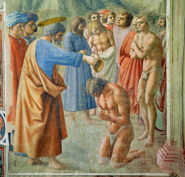 Masaccio, Baptism of the Neophytes, ca 1425, fresco, Florence, Carmine, Brancacci Chapel. According to their biographer, Giorgio Vasari, the next four generations of Tuscan painters and sculptors became 'excellent and famous by practising and studying in this chapel'; he named 25 of them, a roll call of the future canon.