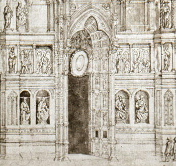 Fig. 2, B. Poccetti, Facade of Florence cathedral before 1587, drawing, Florence, Museo dell'Operan del Duomo