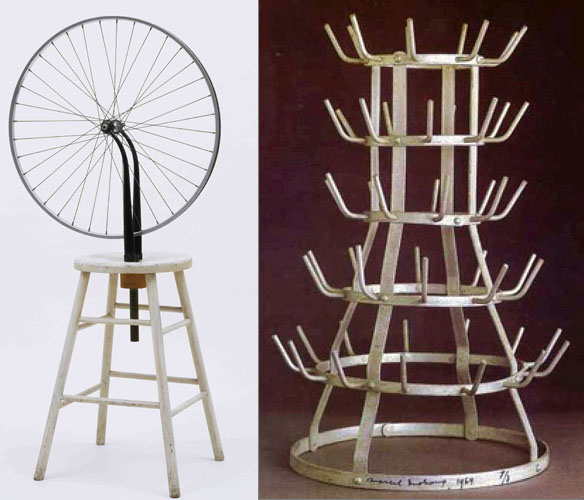 Marcel Duchamp, left, Bicycle Wheel (1913); right, Bottle Rack (1914); both reproductions of lost originals