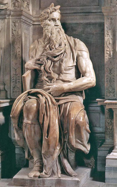 Fig. 1, Moses, 1513–16, marble, h. 235cm; installed in 1545 in San Pietro in Vincoli, Rome