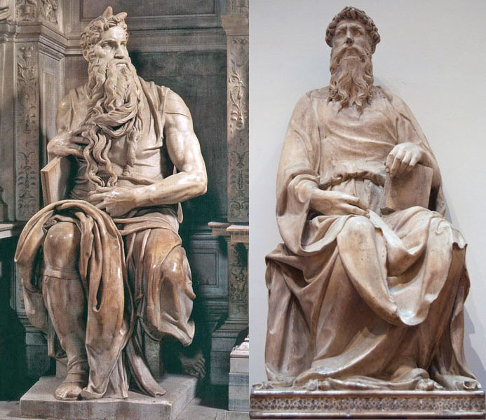 Fig. 3, left, Michelangelo, Moses, 1513–16, h 2.35m; right, Donatello, St John the Evangelist, 1408–15, marble, h. 2.1m, Florence, Museo dell'Opera del Duomo